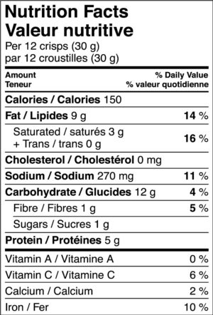 Nutritional Information Label