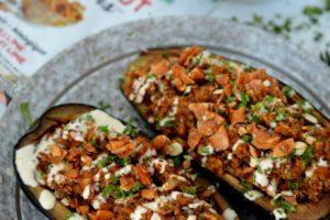 Quinoa Stuffed Eggplant with hippie snacks coconut clusters