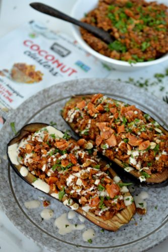 Quinoa Stuffed Eggplant with hippie snacks coconut clusters