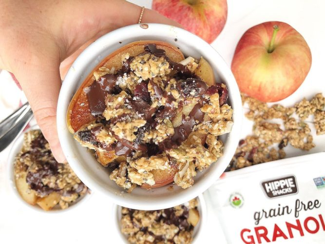 Warm Apple Crumble recipe with Hippie Snacks Granola