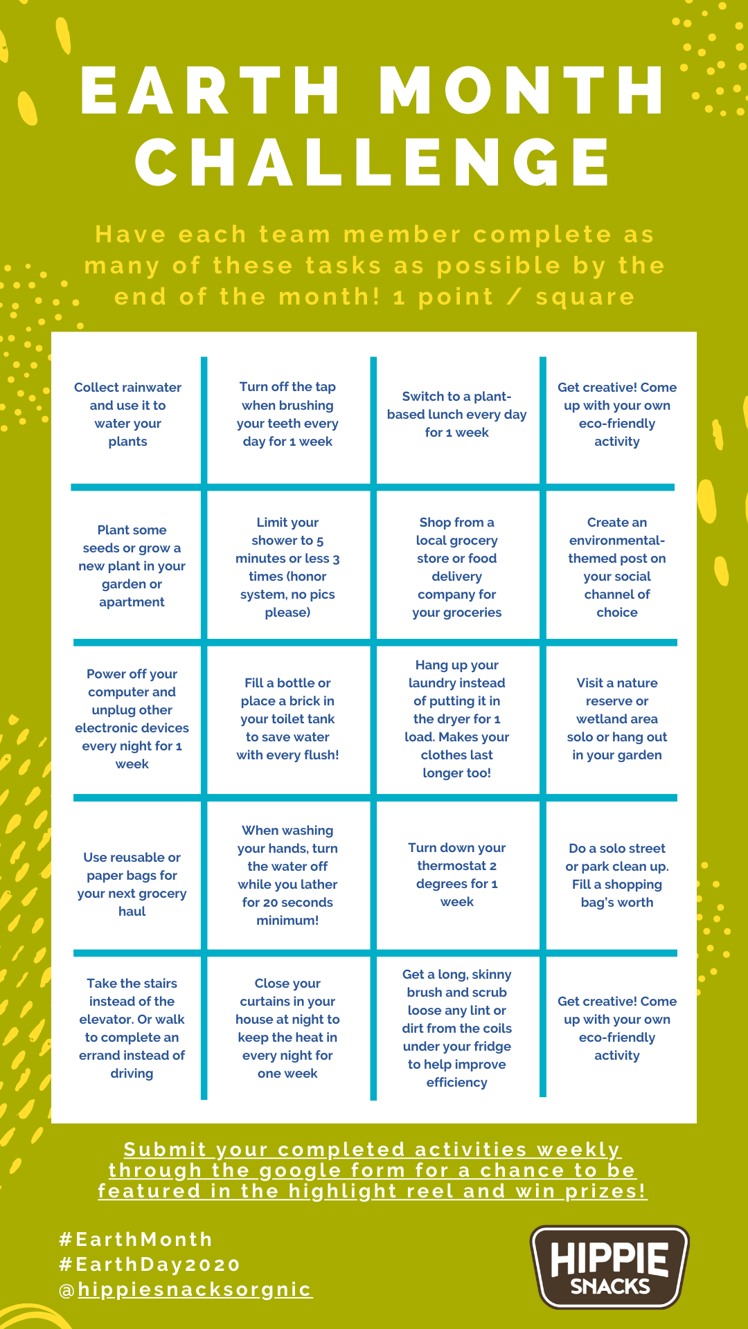 Earth Month Eco Challenge Bingo Card